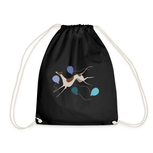 Springender Windhund und Ballons - Turnbeutel
