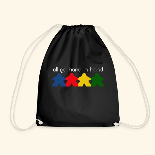 Meeples all go hand in hand - Drawstring Bag