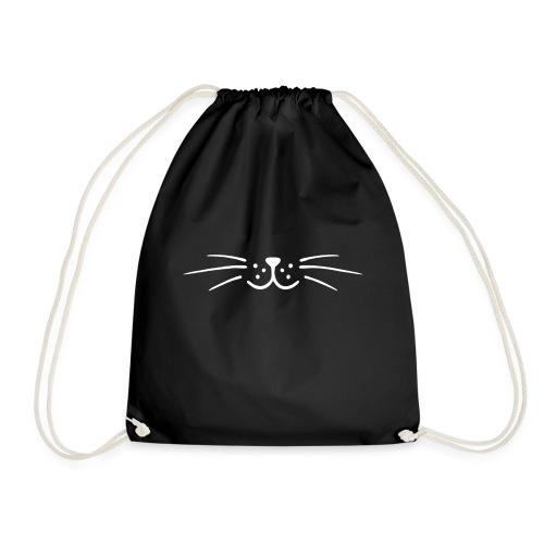 Moustache minimaliste chat (blanche) - Sac de sport léger