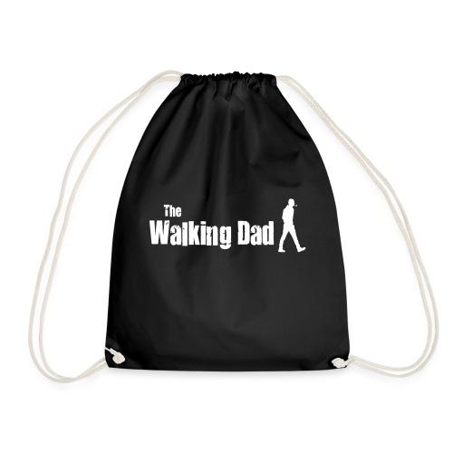 the walking dad white text on black - Drawstring Bag