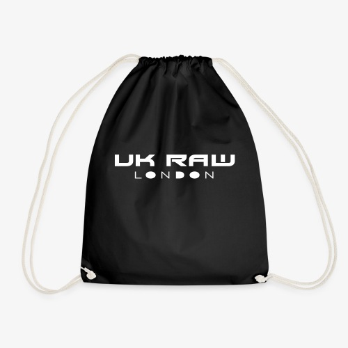 UK Raw London White Logo - Drawstring Bag