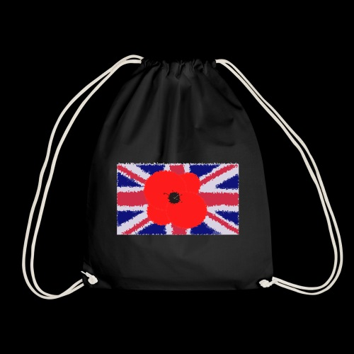 Poppy flower over Union Jack Flag - Mochila saco