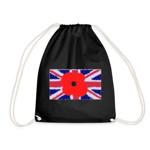 Poppy flower over Union Jack Flag - Mochila saco