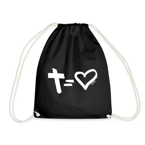 Cross = Heart WHITE // Cross = Love WHITE - Drawstring Bag