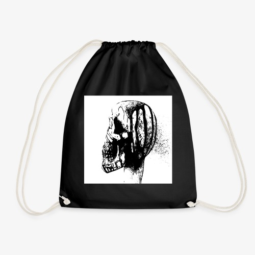 black n white skull leak - Drawstring Bag