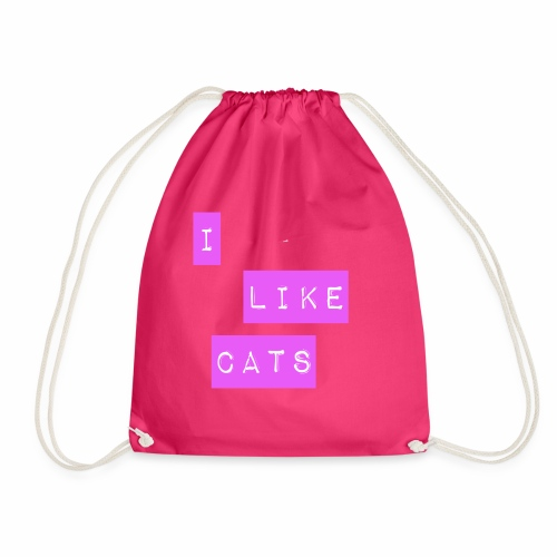 I like cats - Drawstring Bag