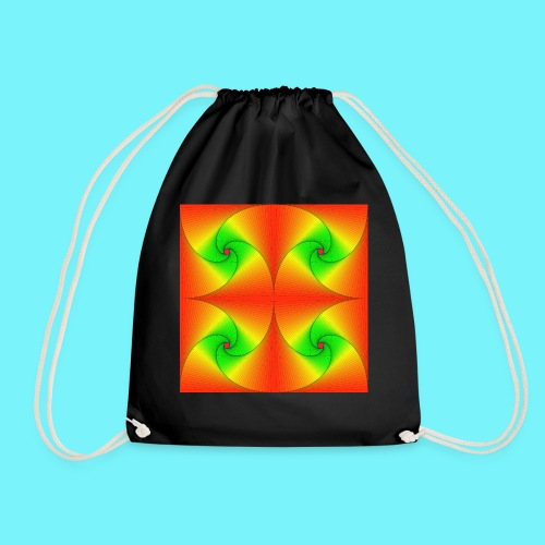Pursuit curves in red and green - Drawstring Bag