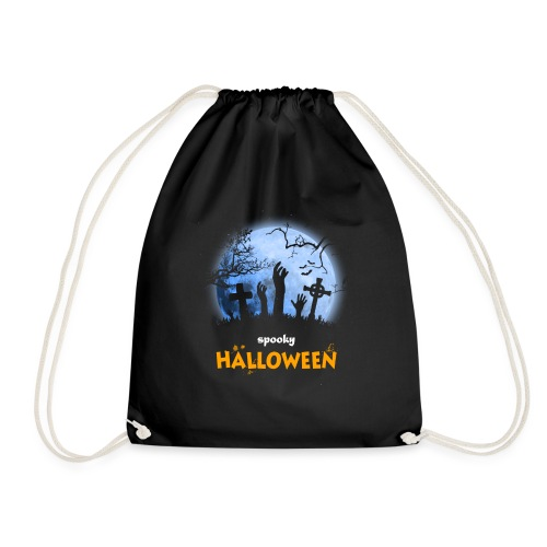 Spooky Halloween Moon cementary t shirt tee - Drawstring Bag