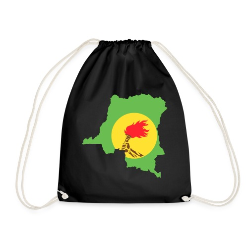 zaire flag and map - Drawstring Bag