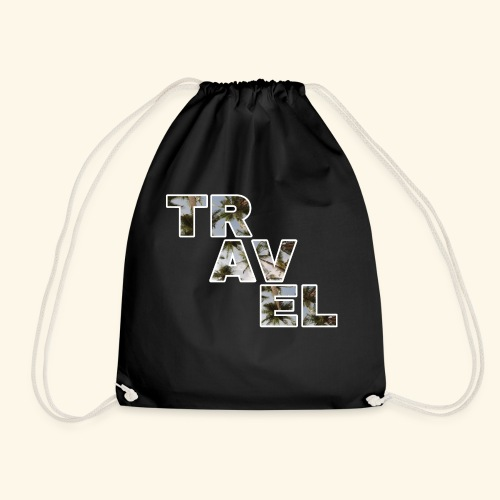 Travel travel with palm filling and blue sky - Drawstring Bag
