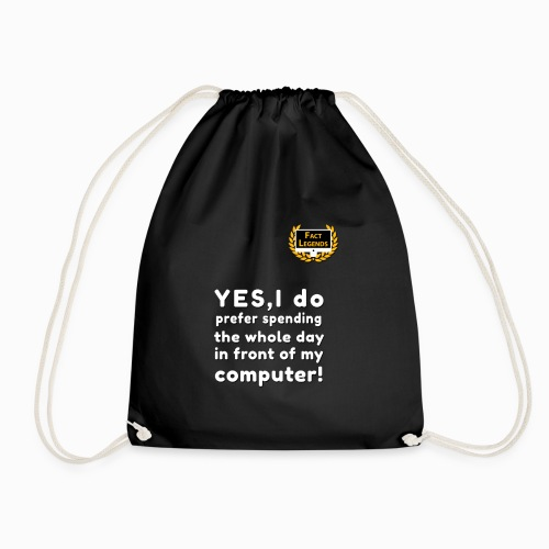 YES, I prefer to spend time on my computer! - Drawstring Bag