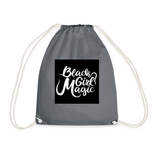 Black Girl Magic 1 White Text - Drawstring Bag