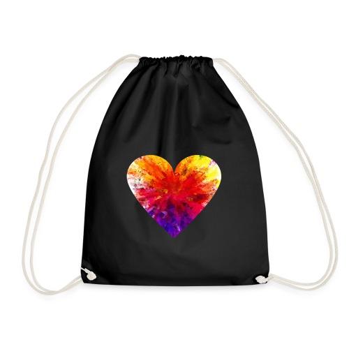 Valentines Day Tee Shirt - Coloured Rainbow Heart - Drawstring Bag