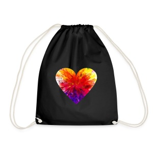 Valentines Day Tee Shirt - Coloured Rainbow Heart - Drawstring Bag