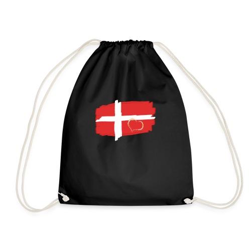 Dänemark Fahne mit Herz Flagge Land Nation - Turnbeutel