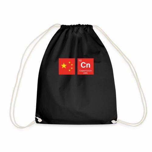 China Flag Cn Chemical Element Periodic Table Fun - Drawstring Bag