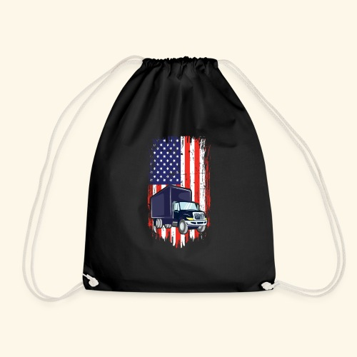 Truck Driver T Shirt mit American Flag - Turnbeutel