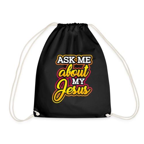 Frag mich über Jesus Christliche Tshirt Sprüche - Turnbeutel