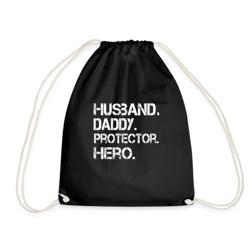 Husband ydadd protector hero T Shirt cool father - Drawstring Bag