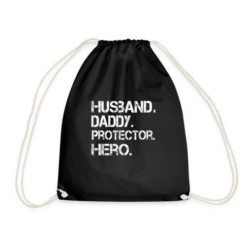 Husband ydadd protector hero T Shirt cool father - Drawstring Bag