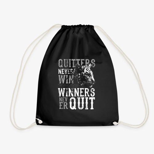 Fitness Spruch, Winner never Quit - Turnbeutel