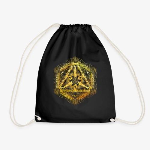 Interdimensional Tesseract Gold Sacred Geometry - Drawstring Bag