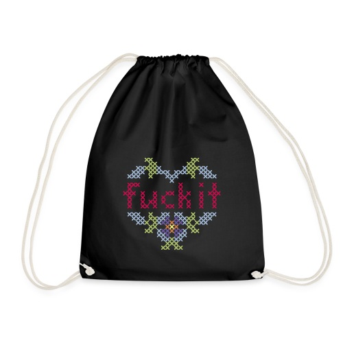 fuck it Kreuzstick in pastell - Drawstring Bag