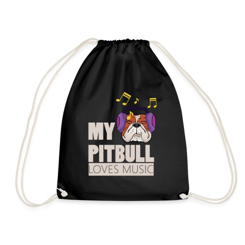 Pitbull loves music - Drawstring Bag