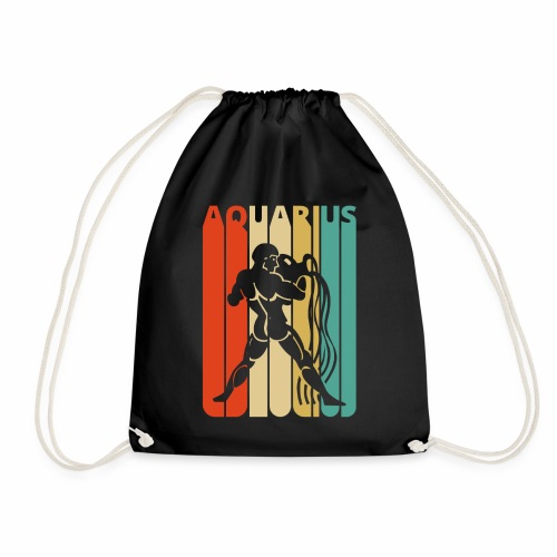 Vintage Aquarius Zodiac for Christmas, Birthday - Drawstring Bag