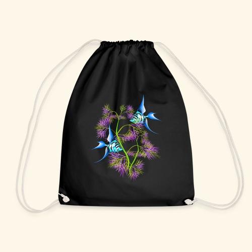 Tropical blue Fish Swimming around plants - Drawstring Bag