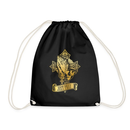 just pray in gold - Drawstring Bag