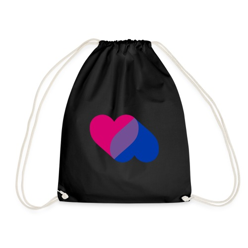 Bisexual Double Heart - Drawstring Bag
