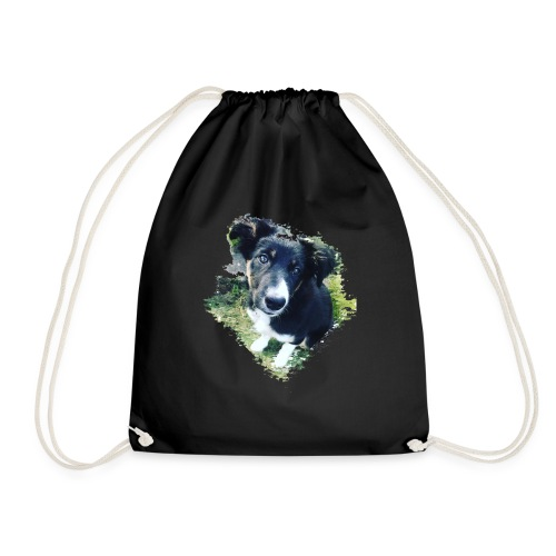 colliegermanshepherdpup - Drawstring Bag