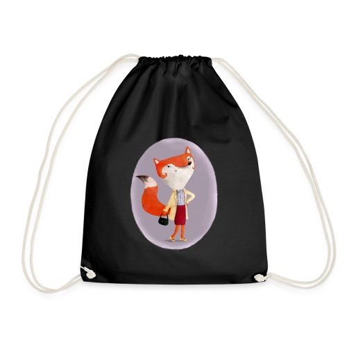 Classy Mod Fox Girl Bags & Backpacks - Drawstring Bag