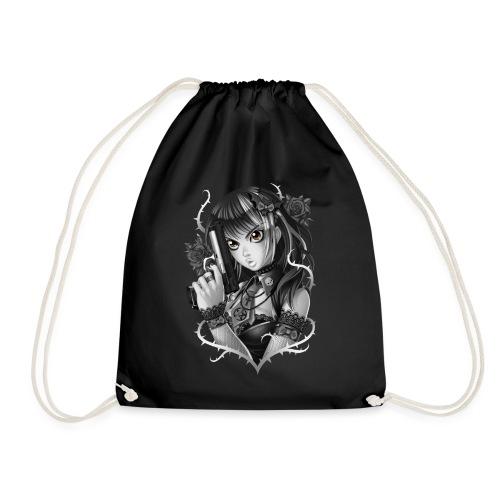 Manga Gun Girl Grey - Drawstring Bag