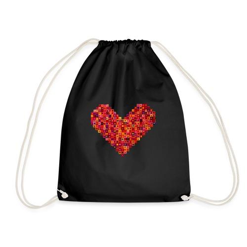 Rotes Herz aus Karos - Turnbeutel