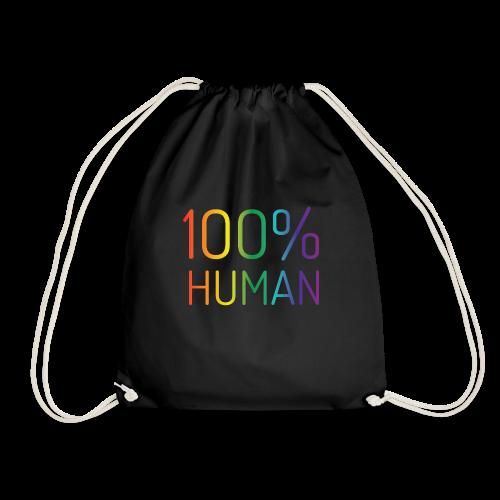 100% Human in regenboog kleuren - Gymtas