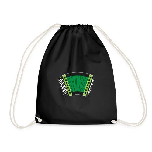 Schwyzerörgeli grün schwarzer Hintergrund - Turnbeutel