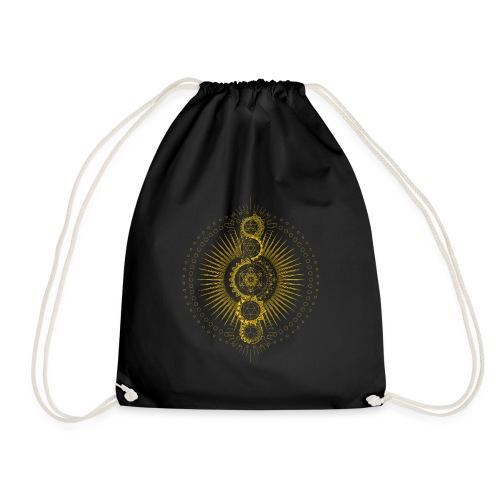 Sacred Geometry Metatron's Cube Gold Transcendence - Drawstring Bag