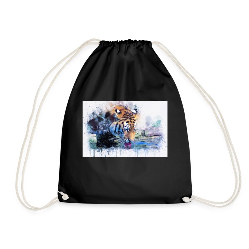 tiger drinking water - Drawstring Bag