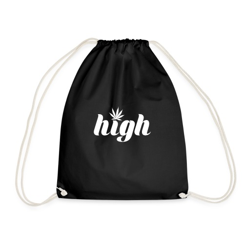 High sign with cannabis leaf - Drawstring Bag