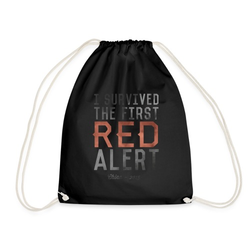 I Survived the First Red Alert - China 2015 - Drawstring Bag