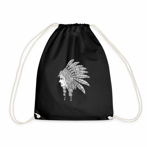 Indian Girl Illustration - Drawstring Bag