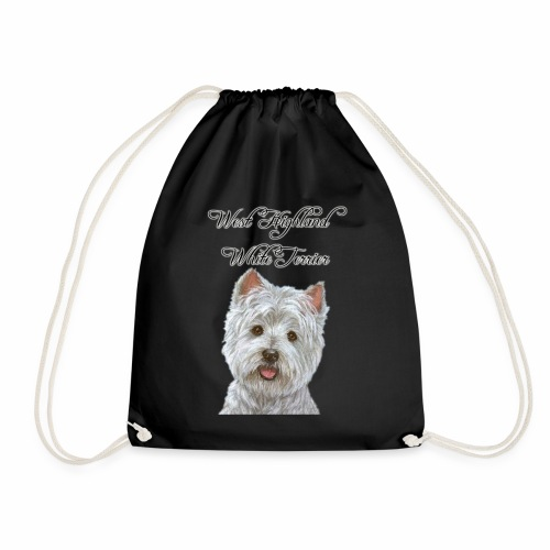west highland white terrier design - Drawstring Bag
