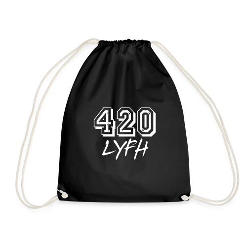 420LYFH Logo White - Drawstring Bag