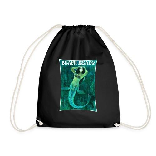 Vintage Pin-up Beach Ready Mermaid - Drawstring Bag