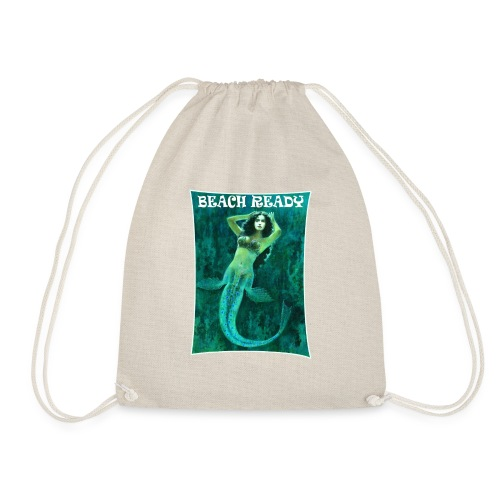 Vintage Pin-up Beach Ready Mermaid - Drawstring Bag