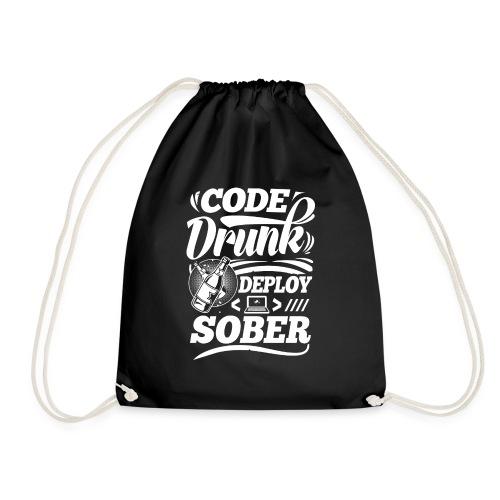 Code drunk Deploy sober - Drawstring Bag