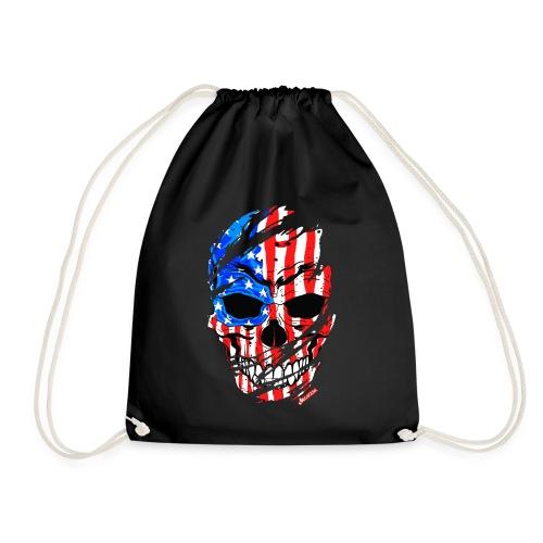 Teschio bandiera USA effetto strappo by Mescal - Sacca sportiva