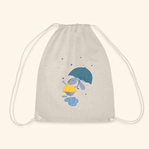 happy in the rain - Drawstring Bag